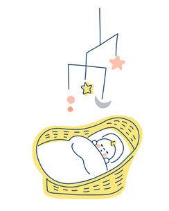 ベビーバスケットで眠る赤ちゃんのイラスト素材 [FYI04867241]