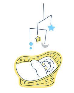 ベビーバスケットで眠る赤ちゃんのイラスト素材 [FYI04867242]
