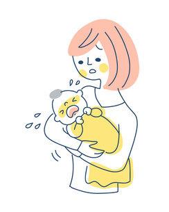 泣いている赤ちゃんをあやすママのイラスト素材 [FYI04867243]