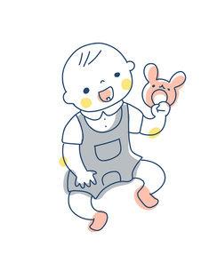 ガラガラを持って遊ぶ赤ちゃんのイラスト素材 [FYI04867249]