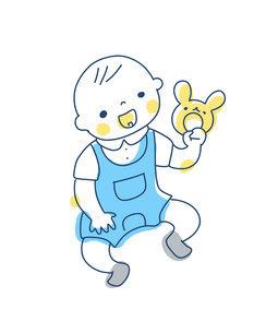 ガラガラを持って遊ぶ赤ちゃんのイラスト素材 [FYI04867250]