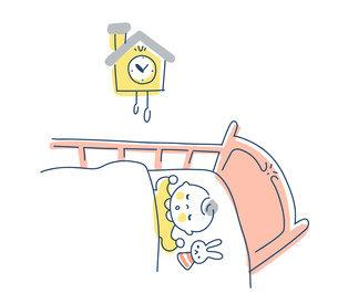 ベビーベッドの中で眠る赤ちゃんのイラスト素材 [FYI04867253]