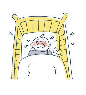 ベビーベッドの中で泣く赤ちゃんのイラスト素材 [FYI04867255]