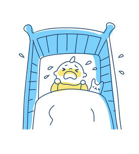 ベビーベッドの中で泣く赤ちゃんのイラスト素材 [FYI04867256]
