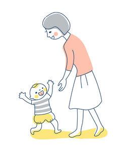 ママに向かって歩く赤ちゃんのイラスト素材 [FYI04867257]