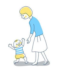 ママに向かって歩く赤ちゃんのイラスト素材 [FYI04867258]