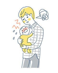 泣いている赤ちゃんをあやすパパのイラスト素材 [FYI04867259]
