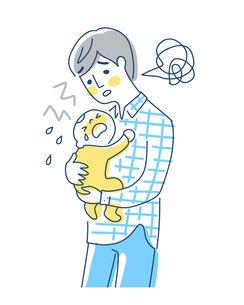 泣いている赤ちゃんをあやすパパのイラスト素材 [FYI04867260]