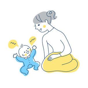 赤ちゃんとママのイラスト素材 [FYI04867264]