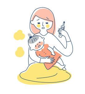 熱がある女の子と心配するママのイラスト素材 [FYI04867265]