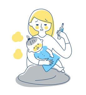 熱がある女の子と心配するママのイラスト素材 [FYI04867266]