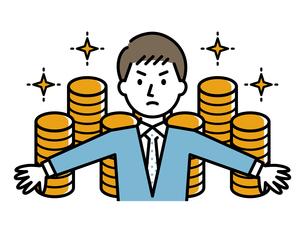 お金を守るビジネスマンのイラスト素材 [FYI04867363]