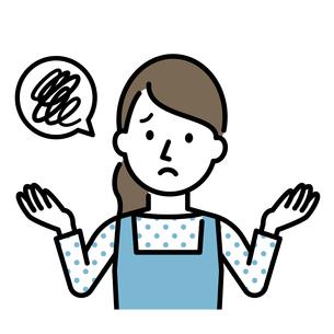 困った表情の主婦のイラストレーションのイラスト素材 [FYI04867366]