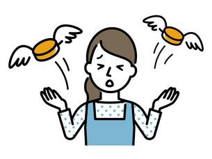 お金を失った主婦のイラストレーションのイラスト素材 [FYI04867367]