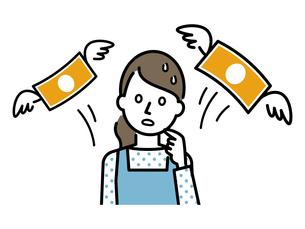 お金を失った主婦のイラストレーションのイラスト素材 [FYI04867368]