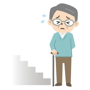 階段の段差に困るシニア男性のイラスト素材 [FYI04867372]