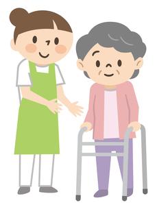歩行器を使うシニア女性と横で介助する若い女性介護士のイラスト素材 [FYI04867375]