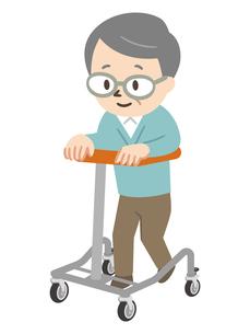 歩行器で歩くシニア男性のイラスト素材 [FYI04867376]