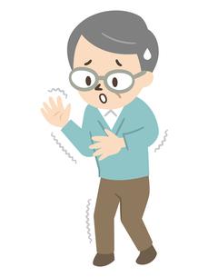 パーキンソン病で手や足にふるえが生じたシニア男性のイラスト素材 [FYI04867379]