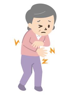 リウマチの症状に悩むシニア女性のイラスト素材 [FYI04867381]