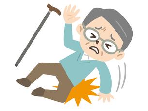 転倒して怪我をしたシニア男性のイラスト素材 [FYI04867382]