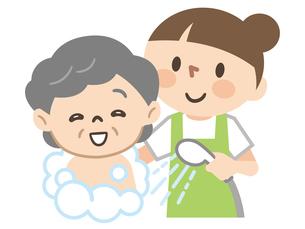 高齢女性に入浴介助を行う女性介護士のイラスト素材 [FYI04867389]