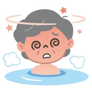 お風呂でのぼせる高齢女性のイラスト素材 [FYI04867390]