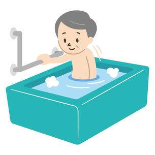 手すりを使いお風呂に入る高齢男性のイラスト素材 [FYI04867392]
