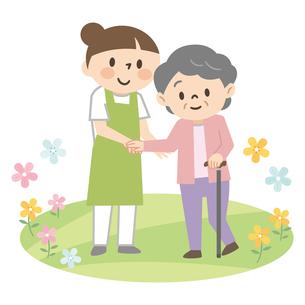 杖をついた高齢者女性を介助する若い女性介護士のイラスト素材 [FYI04867399]
