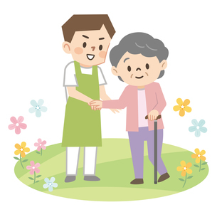 杖をついた高齢者女性を介助する若い男性介護士のイラスト素材 [FYI04867400]