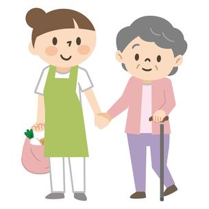 高齢女性の買い物に付き添う介護士のイラスト素材 [FYI04867402]