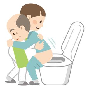 トイレ介助をする女性介護士のイラスト素材 [FYI04867404]