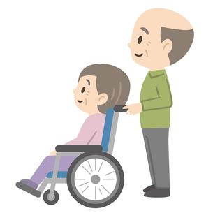 車椅子のシニア夫婦のイラスト素材 [FYI04867405]