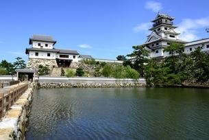 日本三大水城,今治城天守閣と山里槽の写真素材 [FYI04867556]