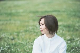 芝生でくつろぐ女性の写真素材 [FYI04867794]
