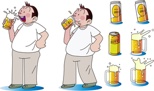 ビールを飲むお腹の出たおじさんのイラスト素材 [FYI04868004]