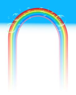 虹とシャボン玉と青空のゲートのイラスト素材 [FYI04868340]