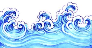 波模様の水彩画のイラスト素材 [FYI04868623]