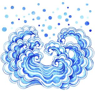 飛沫を挙げている波模様【水彩画】のイラスト素材 [FYI04868624]