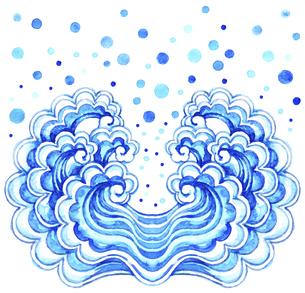 飛沫をあげている波模様【水彩画】のイラスト素材 [FYI04868625]