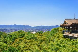 関西の風景 京都市 新緑の清水寺と京都の町並みの写真素材 [FYI04869188]