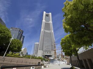 横浜みなとみらい ランドマークタワーと日本丸の写真素材 [FYI04869416]
