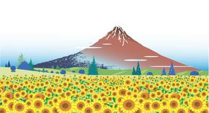 ひまわり畑と浮世絵の富士山のイラスト素材 [FYI04869442]