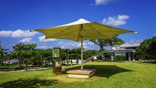 沖縄の青い空と青い海、海洋博公園の総合案内所(ハイハイプラザ)付近のパラソルの写真素材 [FYI04869628]