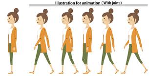 歩く若い女性 ママ 動画用素材 のイラスト素材 [FYI04869634]