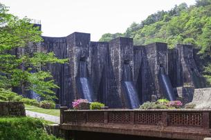 迫力の豊稔池ダム(香川県観音寺市)は、現存する日本最古の石積式マルチプルアーチダムの写真素材 [FYI04870035]