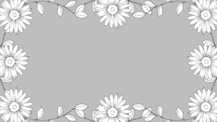 手描き線画のお花フレームのイラスト素材 [FYI04870337]