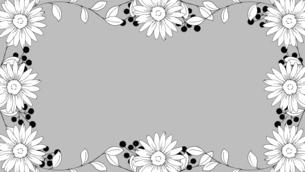 手描き線画のお花フレームのイラスト素材 [FYI04870338]