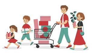 ショッピングをする家族のイラスト素材 [FYI04870479]