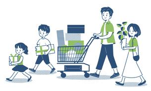 ショッピングをする家族 シンプルのイラスト素材 [FYI04870481]